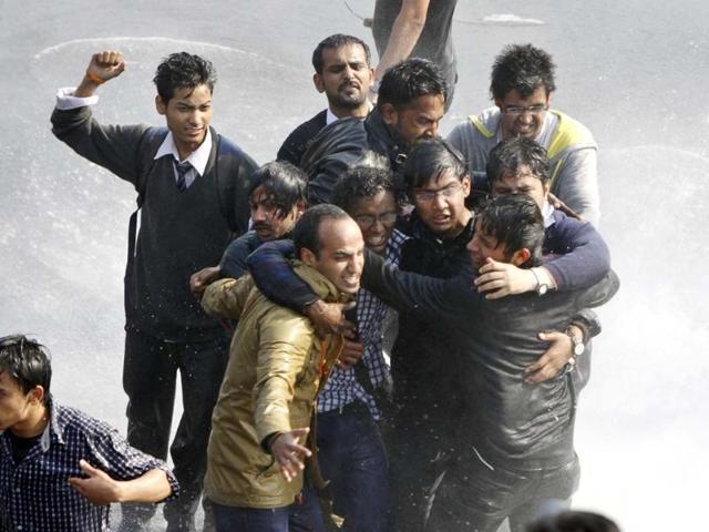 Protests at Jantar Mantar demanding speedy justice to rapists