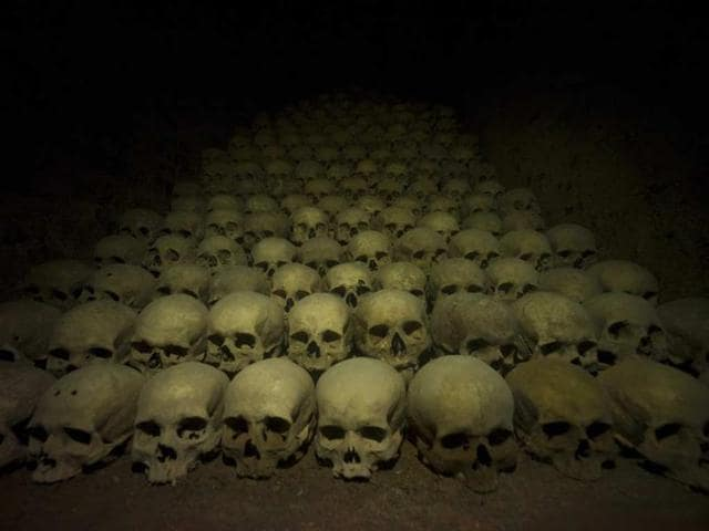 Skulls-are-seen-at-an-ossuary-with-the-remains-of-more-than-50-000-people-on-October-19-2012-under-the-Church-of-St-James-in-Brno-Photo-AFP-Michal-Cizek