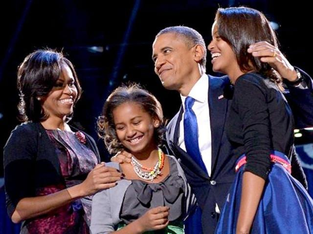 US-President-Barack-Obama-with-First-Lady-Michelle-and-daughters-Sasha-and-Malia-AFP-Jewel-Samad