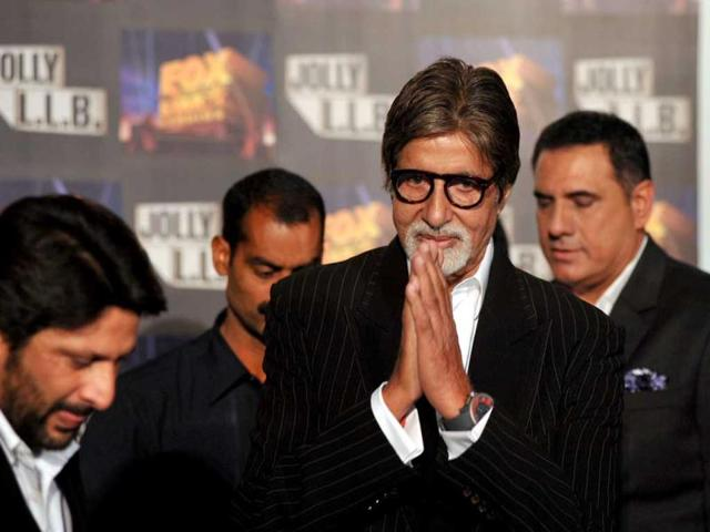 Amitabh Bachchan at the launch of Jolly L.L.B. directed by Subhash Kapoor in Mumbai. (AFP PHOTO)