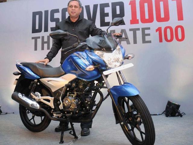 K-Srinivas-launching-new-bikeHyderabad-K-Srinivas-President-Motorcycle-Business-of--Bajaj-Auto-launches-the-new-Discover-100T-bike-in-Hyderabad-on-Thursday-Photo-PTI