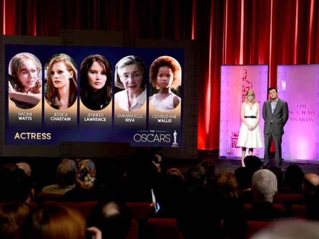 The Oscar nominees for Best Actress are announced by Seth MacFarlane and Emma Stone at the Samuel Goldwyn Theartre in Beverly Hills, California. AFP Photo