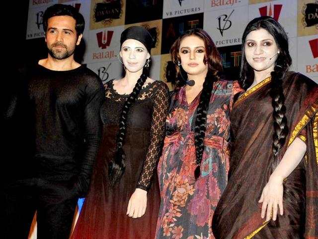 Kalki-Koechlin-Emraan-Hashmi-Huma-Qureshi-and-Konkana-Sen-Sharma-pose-at-the-first-look-launch-of-the-upcoming-musical-thriller-Ek-Thi-Daayan-directed-by-Kannan-Iyer-and-produced-by-Ekta-Kapoor-and-Vishal-Bhardwaj-in-Mumbai-on-January-16-2013-AFP-PHOTO