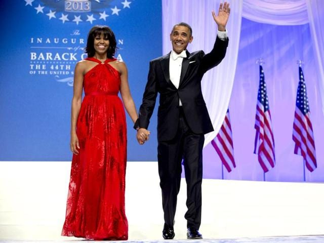 US-President-Barack-Obama-and-first-lady-Michelle-Obama-arrive-to-dance-together-at-an-Inaugural-Ball-at-the-Washington-Convention-Center-in-Washington-during-the-57th-Presidential-Inauguration-AP-Photo