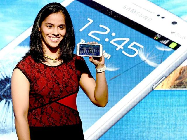 Saina-Nehwal-launches-the-Samsung-Galaxy-Grand-smartphone-at-a-function-in-Mumbai-The-Galaxy-Grand-dual-sim-smartphone-will-retail-for-21-500-rupees-400-in-the-country-AFP