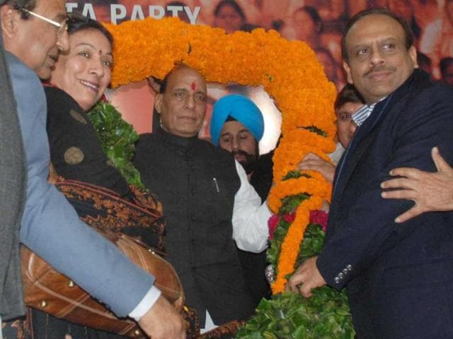 Rajnath Singh, who was elected as the new BJP president, is seen with supporters in New Delhi. UNI