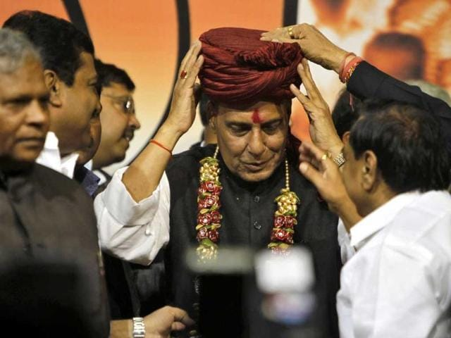 Rajnath Singh receives a turban from his supporters after his appointment at the party headquarters in New Delhi. Reuters/Mansi Thapliyal