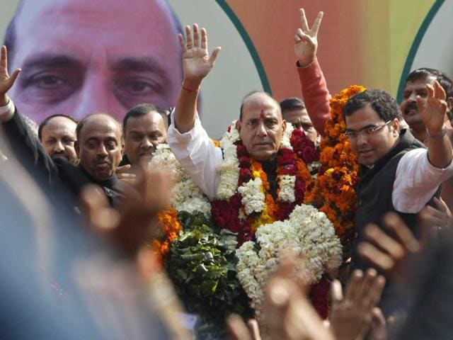 Rajnath Singh waves along with his supporters at the party headquarters in New Delhi. Reuters/Mansi Thapliyal