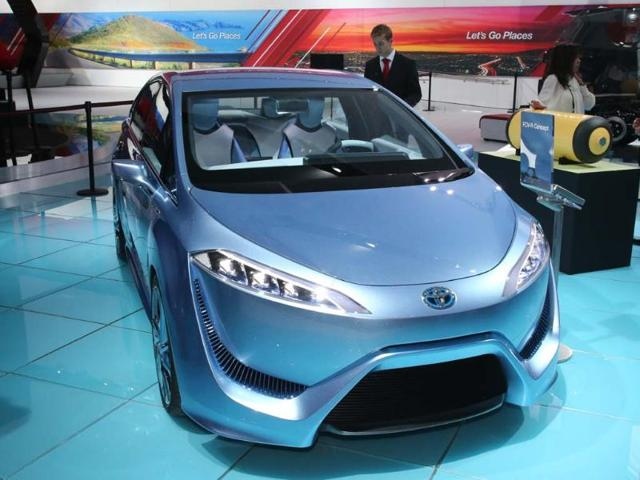 Toyota FCV-R Concept: What makes this concept so special is that it uses a hydrogen fuel cell, which gives it a range of over 400 miles (640 km) and when the battery dies, simply pull into a service station and fill up with hydrogen as a driver would traditional fossil fuel. That's the theory but unfortunately the reality is that outside of Japan, South Korea and California there is still very little hydrogen infrastructure. Photo:AFP