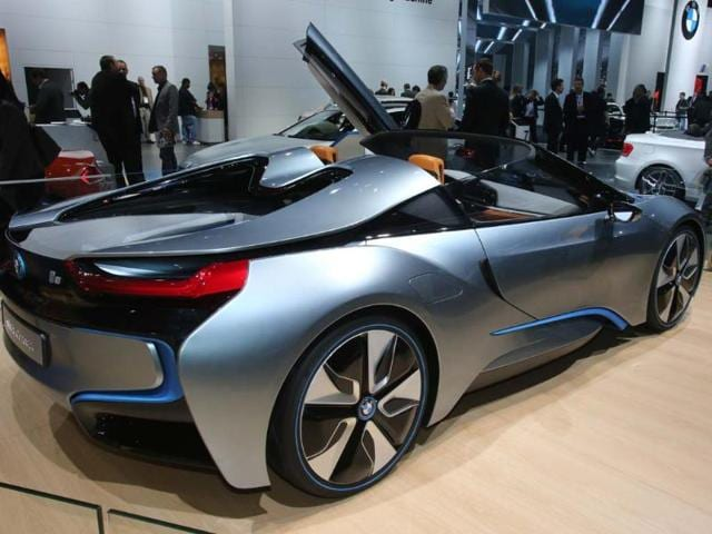 BMW i8: The BMW i8 will look familiar to anyone who's seen 'Mission Impossible 4' but to everyone else it is an electric/diesel hybrid supercar that can go from 0-60mph in 4.8 seconds and on to a limited top speed of 160mph (250km/h). Photo:AFP