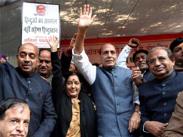 Rajnath gives special welcome to Modi at BJP national executive