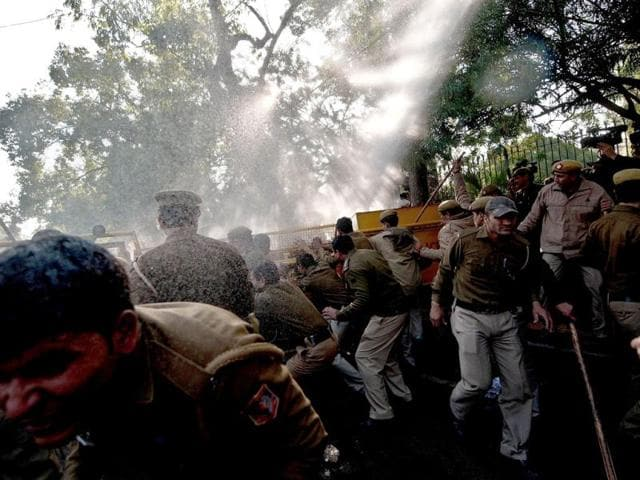 Students, teachers protest visit, are lathicharged