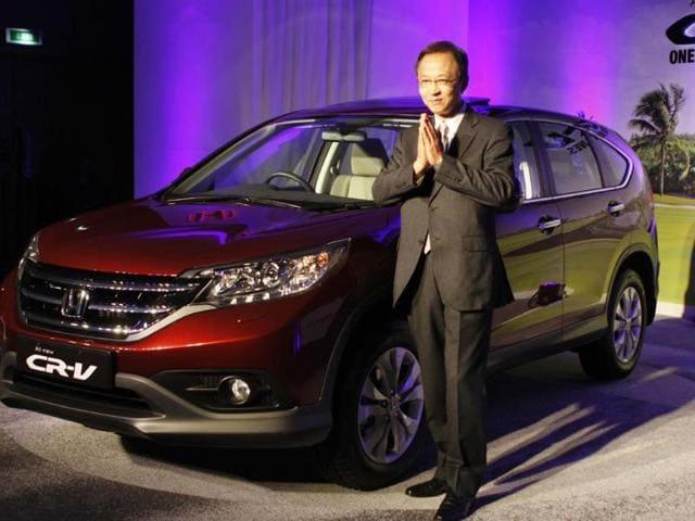 Hironori Kanayama President & CEO Honda cars Launched all new 4 Generation Honda cr –v- in New Delhi, India, Tuesday, Feb. 12 2013. Photo:Hindustan Times/Sunil Saxena