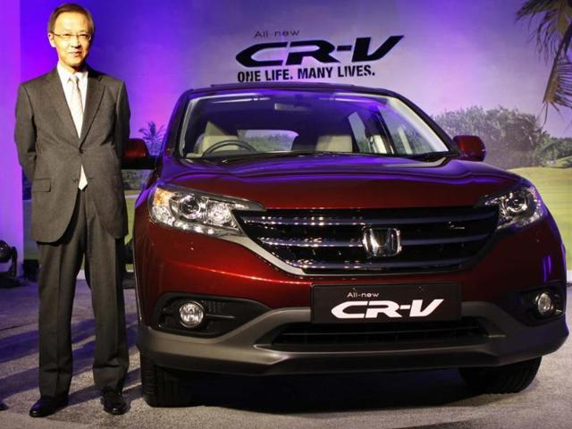 Hironori Kanayama President & CEO Honda cars Launched all new 4 Generation Honda CR-V in New Delhi, India, Tuesday, Feb. 12 2013. Photo:Hindustan Times/Sunil Saxena