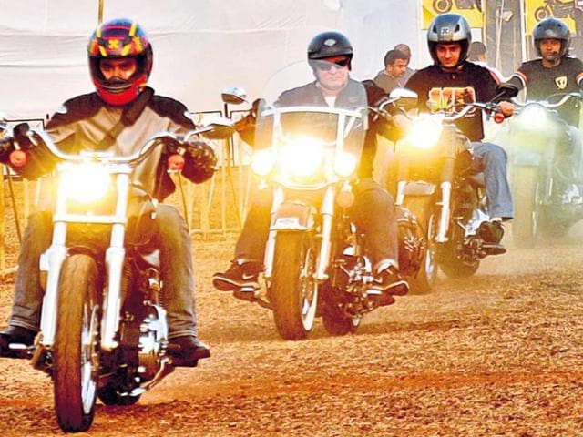 Riders at the India Bike Week early this month. Photo:HT/Hari Warrier