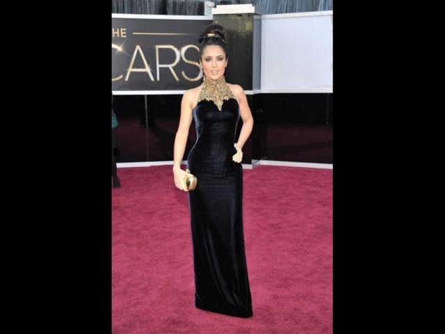 Actress Salma Hayek arrives at the Oscars at the Dolby Theatre on Sunday Feb. 24, 2013, in Los Angeles. AP Photo