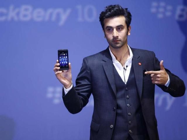 Bollywood-actor-Ranbir-Kapoor-poses-with-the-new-Blackberry-Z10-smartphone-during-its-launch-in-Mumbai-India-Monday-Feb-25-2013-The-Z10-is-priced-at-Indian-rupees-43-490-US-804-Photo-AP-Rafiq-Maqbool