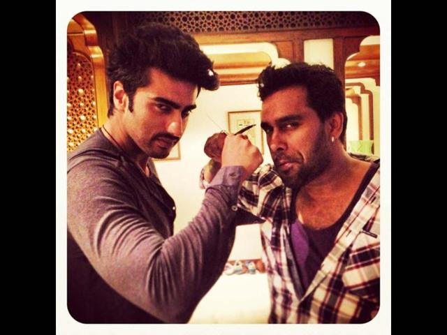 Arjun Kapoor has some fun during the shoot of Gunday, his upcoming movie.