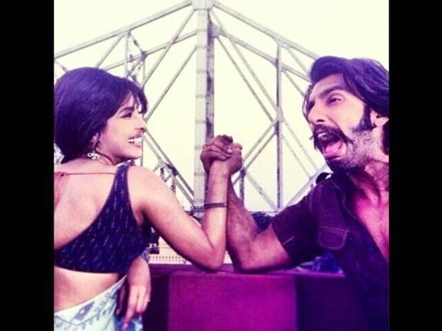 Priyanka Chopra and Ranveer Singh share a light moment at the sets of Gunday.