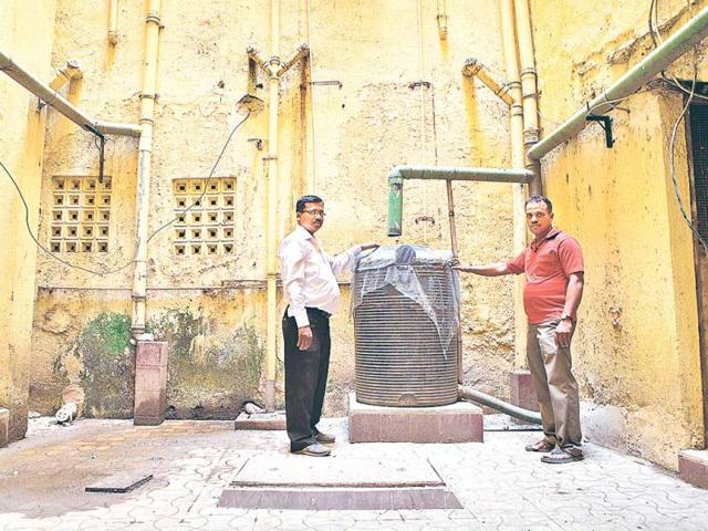 The-water-harvesting-system-at-God-s-Gift-Co-Op-Society-in-Mumbai-Seven-lakh-litres-is-conserved-annually-as-a-result-of-this-initiative-HT-Photo