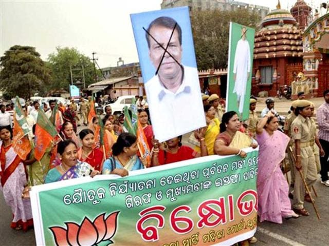 Women-members-of-the-BJP-protest-against-chief-minister-Naveen-Patnaik-and-former-minister-Raghunath-Mohanty-in-Bhubaneswar-Odisha-PTI-Photo