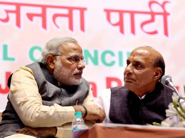 File-Photo-BJP-President-Rajnath-Singh-with-Gujarat-CM-Narendra-Modi-Narendra-Modi-on-Sunday-has-been-re-inducted-in-the-BJP-Parliamentary-Board-PTI-Photo