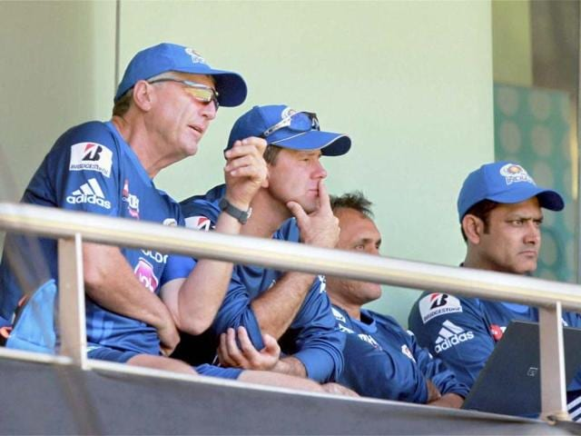 Mumbai-Indians-coach-John-Wright-Captain-Ricky-Ponting-and-Anil-Kumble-watch-the-practice-match-being-played-at-the-Wankhade-stadium-in-Mumbai-PTI-Photo-Shirish-Shete