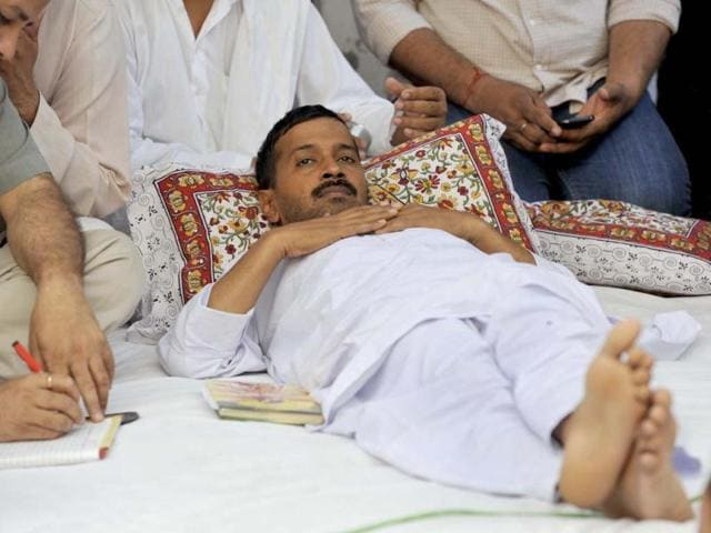 Aam-Aadmi-Party-leader-Arvind-Kejriwal-has-lost-8-5-kg-since-March-23-the-day-he-went-on-an-indefinite-fast-at-Sundar-Nagari-in-northeast-Delhi-Photo-Sushil-Kumar-HT