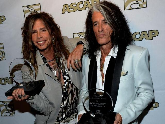 Steven Tyler (L) and Joe Perry of Aerosmith attend the ASCAP Press Conference with Steven Tyler and Joe Perry at Sunset Marquis Hotel & Villas in West Hollywood, California. (AFP Photo)