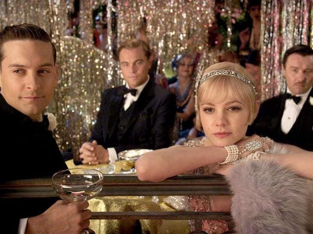 Tobey Maguire (front left), Carey Mulligan (front right), Joel Edgarton (back right) and Leonardo DiCaprio (back left) in a still from Baz Luhrmann