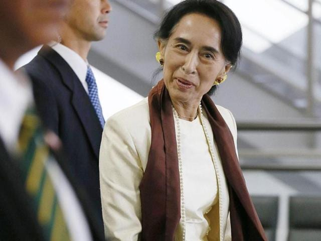 Myanmar-Opposition-Leader-Aung-San-Suu-Kyi-delivers-a-speech-during-a-ceremony-at-her-party-headquarters-in-Yangon-Myanmar-AP-Photo