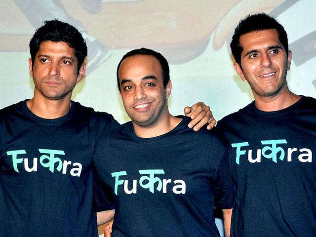 Farhan-Akhtar-Ritesh-Sidhwani-and-director-writer-Mrighdeep-Singh-Lamba-pose-for-photos--for-a-promotional-event-of-Fukrey-in-Mumbai-on-April-12-2013-AFP-Photo
