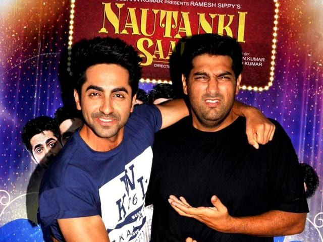 Ayushman-Khurana-and-Kunaal-Roy-Kapoor-pose-during-the-success-party-of-Nautanki-Saala-in-Mumbai-AFP-Photo