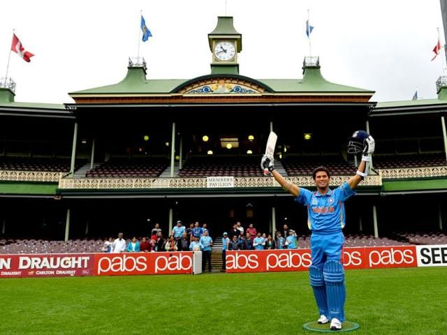 A wax figure of cricket star Sachin Tendulkar is displayed at the Sydney Cricket Ground in Sydney. (AFP)