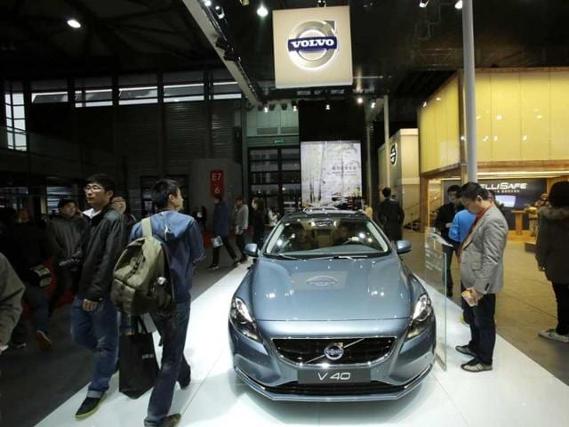 A Volvo V40 car is displayed at the Shanghai International Automobile Industry Exhibition media day in Shanghai, China. AP
