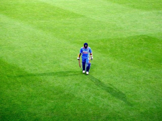 Sachin leaves the field after being dismissed during a One Day International match against Sri Lanka. The master hung up his ODI boots in December 2012. Getty Images.