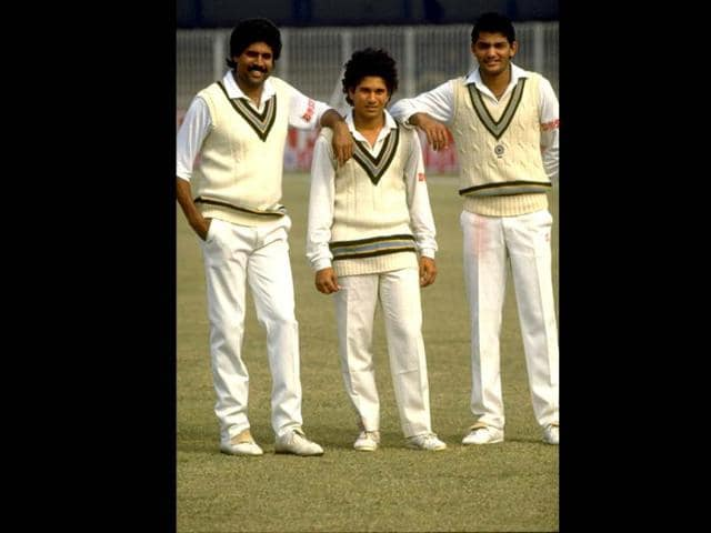 A young Sachin poses with stalwarts Kapil Dev and Mohammed Azharuddin in Pakistan. Allsport UK /Allsport. Getty Images.