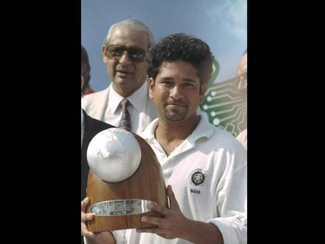 Indian captain Sachin Tendulkar with the trophy after winning the series against Australia at home. Despite early victories against Australia and South Africa, his spell as captain saw both the maestro