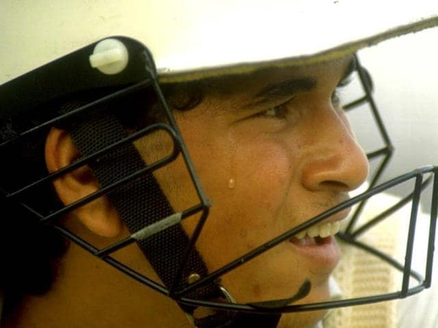 A young Sachin gears up to face the legendary Pakistani pace attack in 1989. (Getty Images)