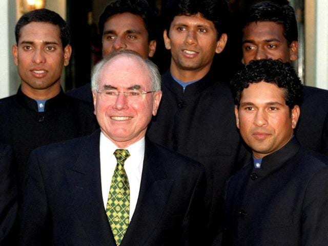 Sachin, as the captain of India with Australian Prime Minister John Howard and others of the team. Though he has had two stints as captain, they were not the team