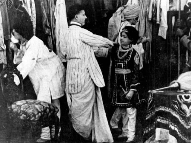 Dadasaheb-Phalke-gets-his-son-ready-for-the-shooting-of-Raja-Harishchandra-1913-Dadasaheb-s-son-Bhalachandra-D-Phalke-essayed-the-role-of-Rohtash-son-of-Raja-Harischandra-Raja-Harishchandra-was-India-s-first-feature-film
