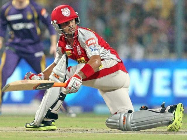 Kings XI Punjab's Mandeep Singh plays a shot against KKR during the T20 match in Kolkata. (PTI)