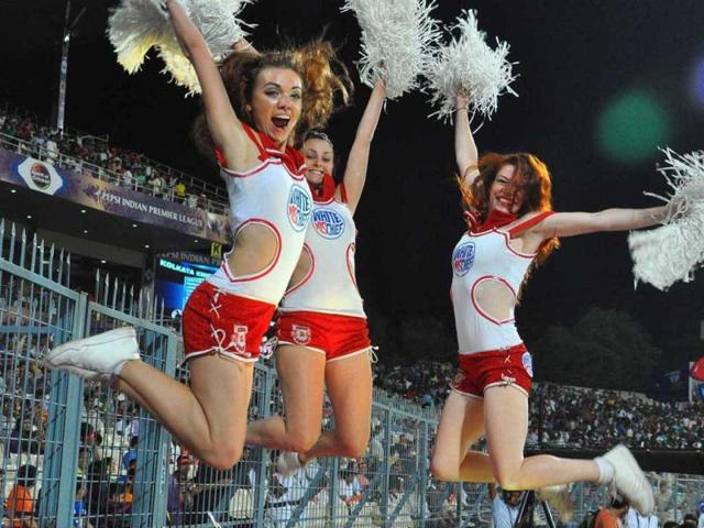 Cheer girls perform during the T20 match between KKR and KXIP at Eden Gardens in Kolkata. (UNI)