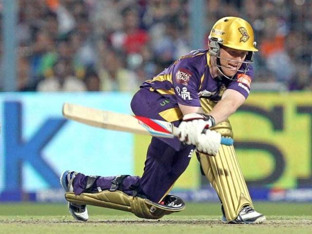 KKR batsman Eoin Morgan plays a shot during the T20 match against Kings XI Punjab in Kolkata. (PTI)