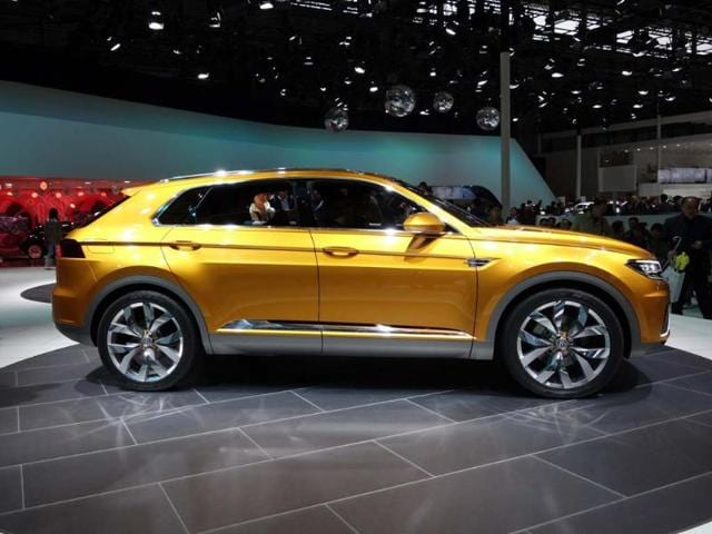 Volkswagen CrossBlue Coupe concept : A rather sleak SUV concept that uses a hybrid powertrain and indicates the future design direction for the next generation of premium German off-roaders. As well as VW, Audi, Porsche and Lamborghini will be using this platform for their next generation of big, four-wheel drive vehicles. Photo:AFP
