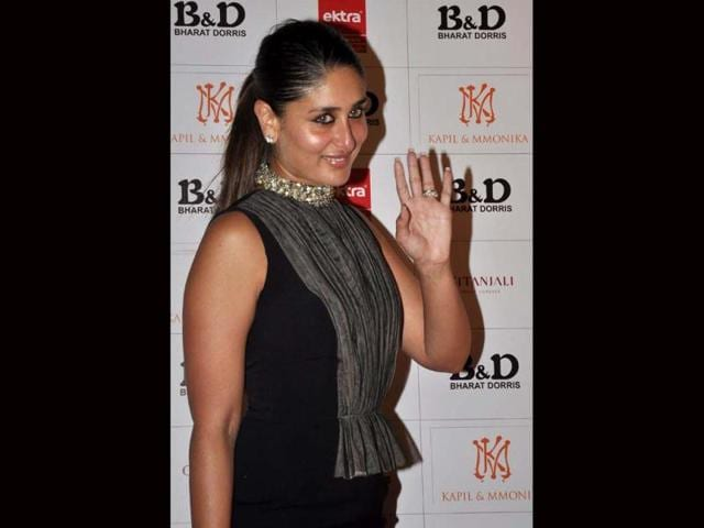 Kareena Kapoor waves as she attends a hair care company ceremony in Mumbai. (AFP Photo)