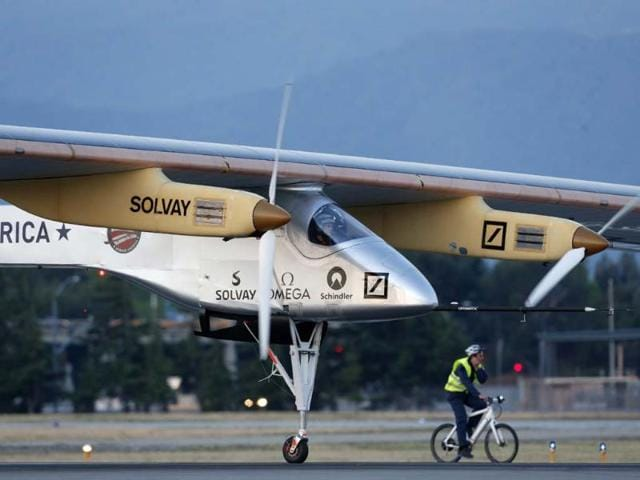 Pilot-Bertrand-Piccard-takes-off-in-the-Solar-Impulse-solar-electric-airplane-at-Moffett-Field-on-May-3-2013-in-Mountain-View-California-Beck-Diefenbach-Getty-Images-AFP
