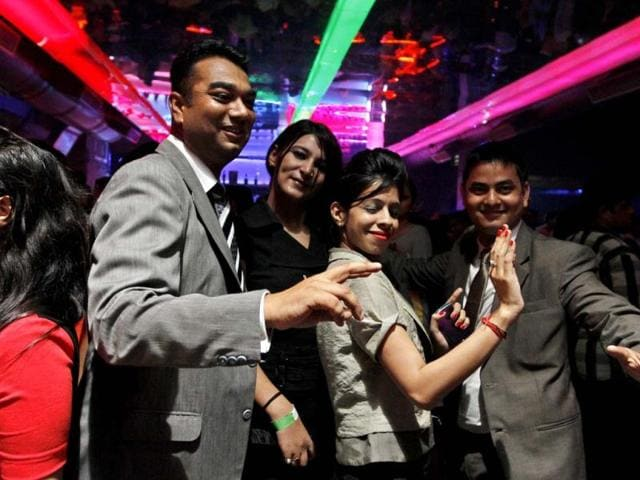 Gurgaon-executives-after-office-hours-seen-dancing-at-peppers-in-Bristol-Hotel-Gurgaon-Sanjeev-Verma-HT