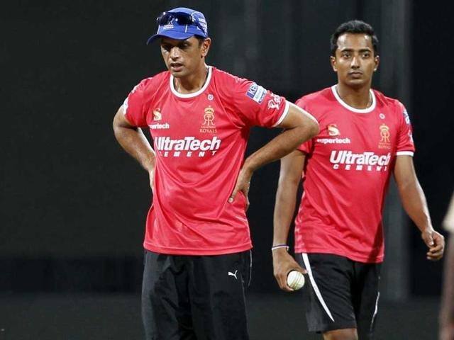 Rajasthan Royals players Rahul Dravid and Ankeet Chavan in action during the practice session ahead of their T20 league match with Mumbai Indians at Wankhede Stadium. (Kunal Patil/HT file photo)