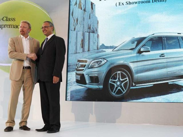 Tennis star Boris Becker (L) and Eberhard Kern (MD and CEO,Mercedes-Benz India) at the Launch of the luxurious SUV, the new GL Class Mercedes-Benz. HT Photo/Virendra Singh Gosain.